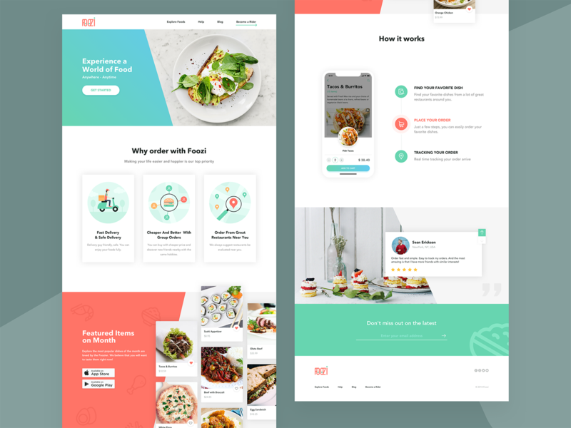 Foozi LandingPage website restaurant illustration landingpage app delivery food