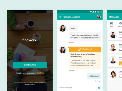 Find Jobs (Android App) welcome chat app android staff employer employee job search find