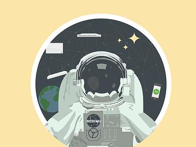 Meraket Man moon earth space astronaut illustration