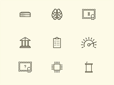 Random Icons icons illustration brain diploma spedometer chip ssd podium lectern public sector switches network