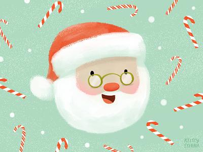 Happy Santa candycane sweets candy kidart winter cute santa santaclaus christmas illustrator illustration
