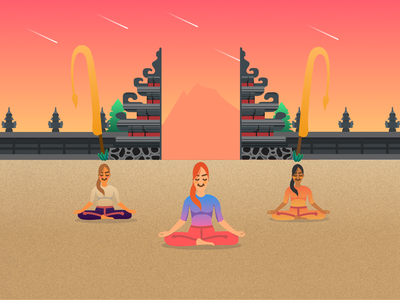 Yoga Exercise Illustration vector bali relaxation yoga yoga pose nature flat illustration digital painting digital illustration figma