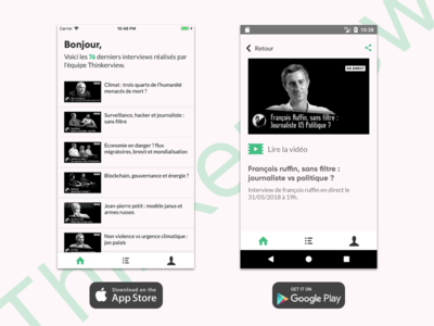Thinkerview App screenshot youtube app interview free open source video player android ios