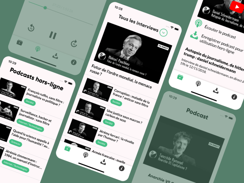 Offline Podcasts by Pierre Bresson on Dribbble