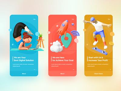 Onboarding Screen Design android apps vector creative trendy design onboarding illustration minimal landing page ux design ui design