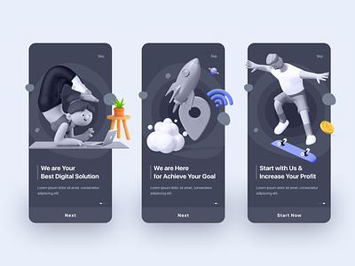 Onboarding Screen Design (Dark Version) android apps creative design illustration landing page minimal onboarding ui onboarding screen onboarding ui trendy ui design ux design
