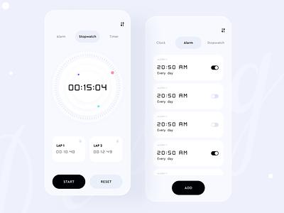 Alarm Clock Minimal App android black and white ios app creative stopwatch app minimal mobile app application ios clock app alarm clock ui design ux design