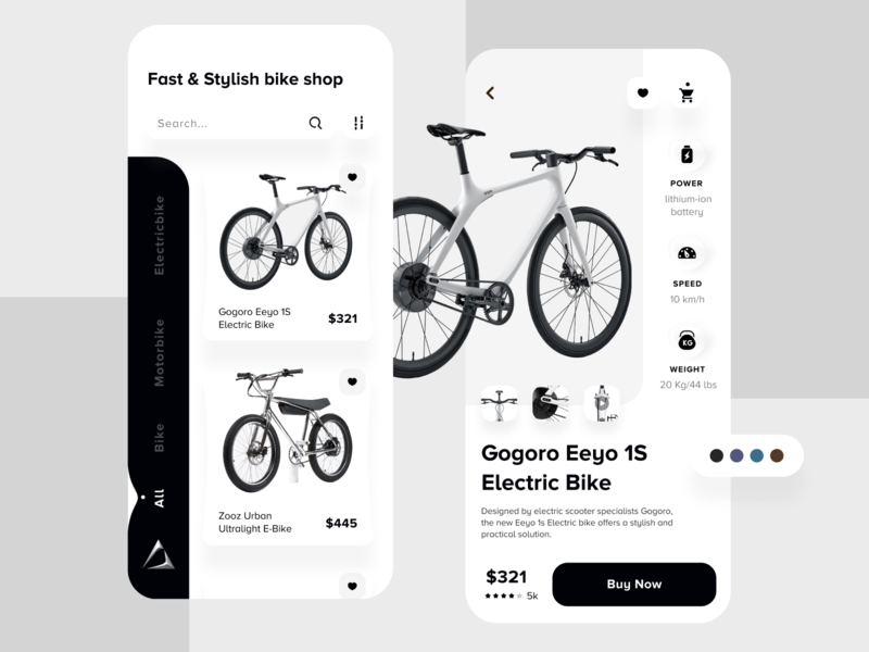 Bike Shop App buy cart ecommerce app ecommence minimal android ios black and white creative motor bike bike shop bike application app landing page ui design ux design