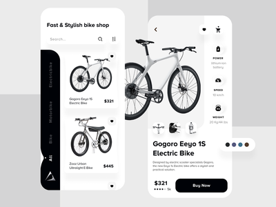 Bike Shop App buy cart ecommerce app ecommence minimal android ios black and white creative motor bike bike shop bike application app landing page ui design ux design