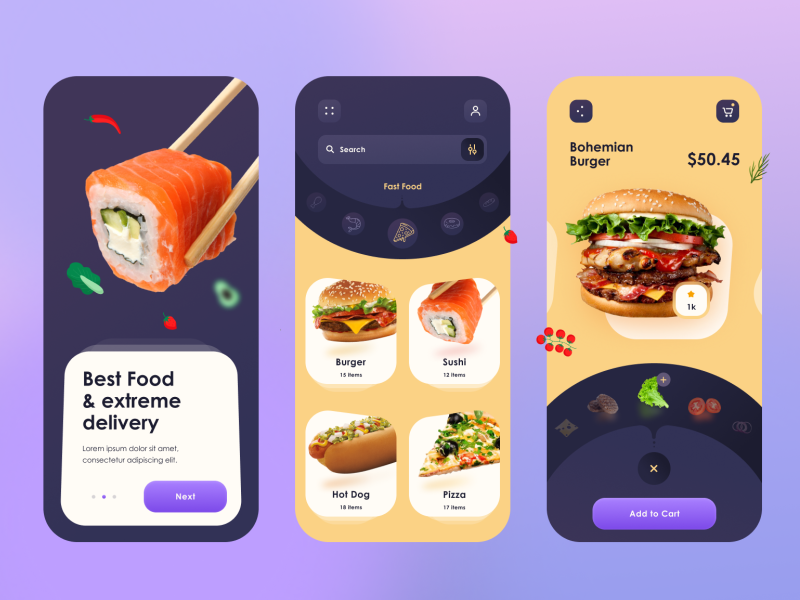 Food Service App food delivery app illustraion desert food landing page food parcel delivery creative user interface delivery app pizza burger fast food food food app ios ios app android minimal ui design ux design