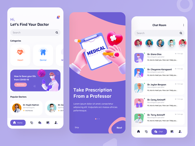 Home & Chat Screen- Doctor Appointment App screen application doctor meet figma illustration minimal onboarding ui digital product prescription chat video call doctor appointment appointment doctor app ios android app ui design landing page ux design