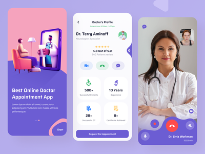 Profile & Video Page- Doctor Appointment App onboarding user experience medical doctor appointment doctors profile call screen video chat android ios ios app userinterface application app apps creative illustration minimal ui design ux design