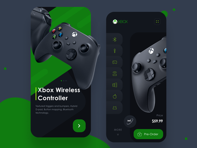 App - Xbox Wireless Controller mobile app xbox gaming bluetooth wireless controller minimal product design application android app userinterface ui design landing page ux design