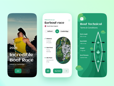 Boat Competition - Mobile App figma illustration competition traveling creative racing boat race boat ios app mobile ui user experience user interface minimal ui design ux design