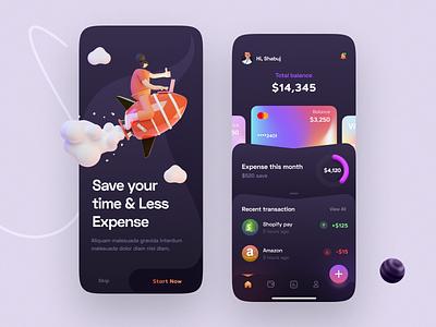 Finance Mobile App Interface banking dark finance app fintech gradient ui interface application mobile app finance landing page illustration minimal ui design ux design