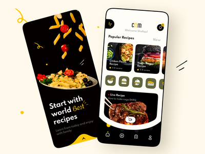 Online Cooking Learning App mobile app uiux learning platform online school educational app minimal learning app online learning cooking app online cooking restaurants android ios application app mobile ux user experience ui user interface
