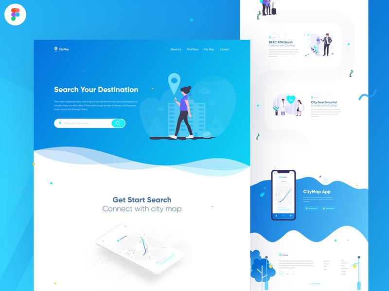 CityMap Landing Page Design web app app application figma product design vector illustration minimal ui design landing page ux design web template