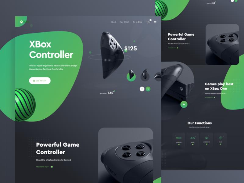 Product Landing Page - Xbox Controller controller xbox product launch product illustration web template landing page ui design ux design