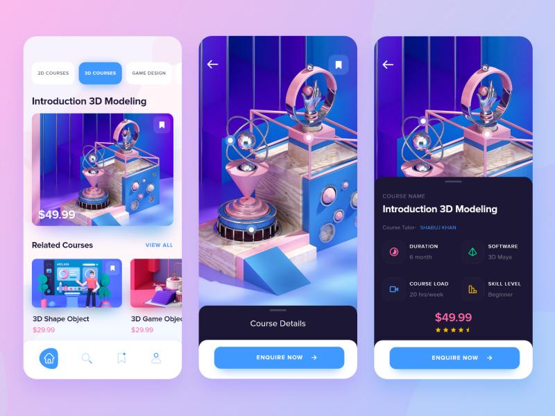 Online Study App - iOS minimal creative appdesign online course 3d illustration ui design ux design ios app