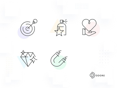 Odore Icon Set 1 star magnet diamond heart dart sampling design website web design ui ux perfume icon set iconography landing page homepage