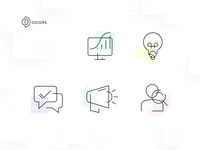 Odore Icon Set 2 website iconography chart search user megaphone chat lightbulb monitor icon set