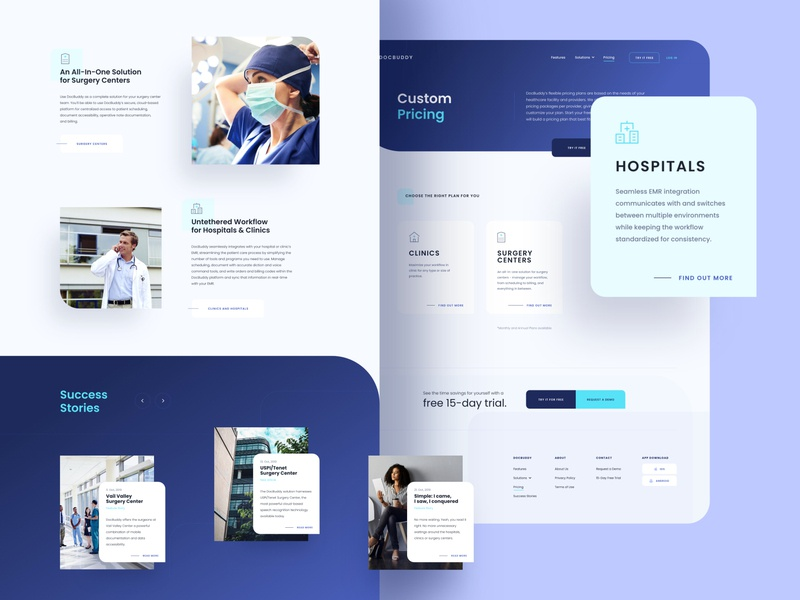 DocBuddy Solutions & Pricing website web design web patients medical pricing design system