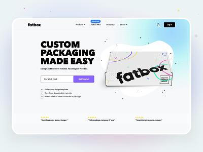 Fatbox saas b2c landing page homepage ux ui box packaging web design