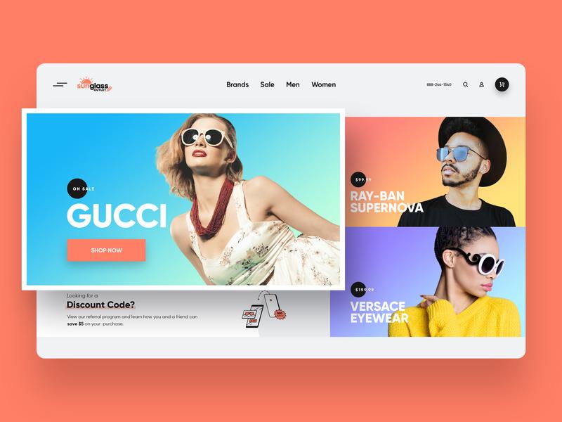 Sunglass Outlet Website webdesign ecommerce sunglasses glassware ui ux design system header homepage landing page web website web design