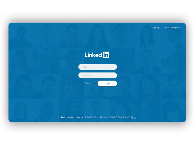 LinkedIn Login / Sign up Page by Vishal Sharijay on Dribbble