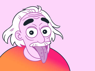 Albert Einstein branding vector design clean dribbble illustration