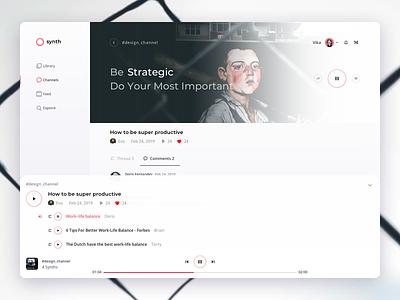 Player 2019 webdesign transcription playlist list video audio trends design2019 top ui app light dribbble clean playback player