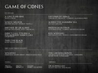 Game of Cones Ice Cream Menu