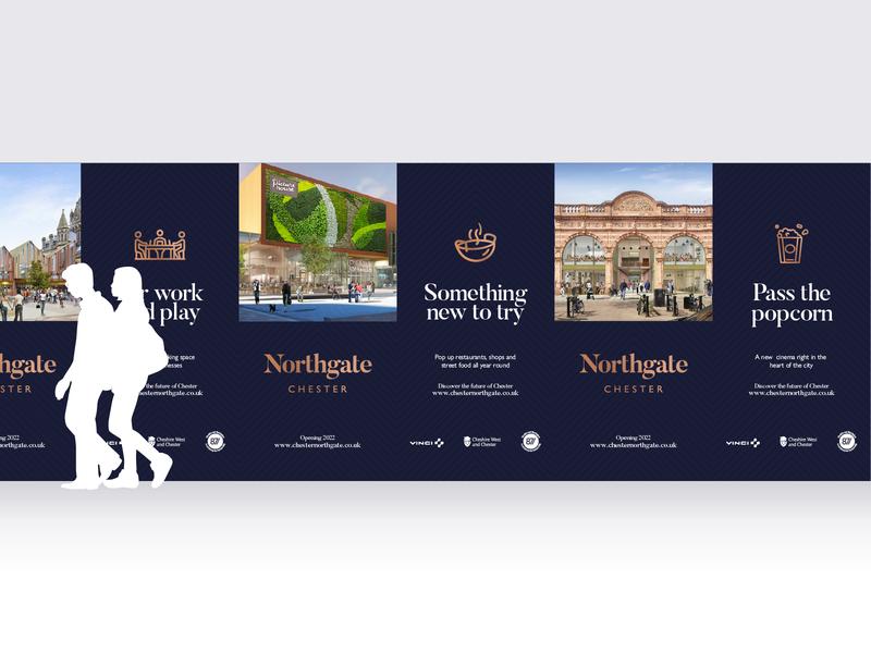 Northgate Hoarding placebranding developmemnt blue chester branding signage large format large hoarding