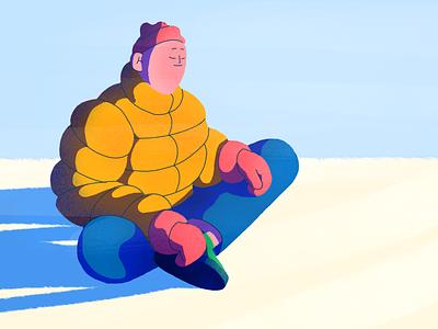 Swedish winter moment ice winter character contrast light procreate illustration