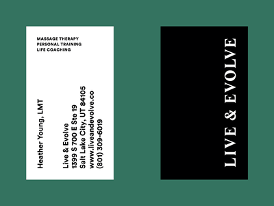 Live & Evolve Business Card typography business card branding graphic design
