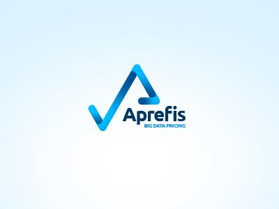 Aprefis logo logo design blue chart simple graph