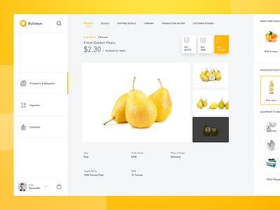 Bullseye     Wholesale Business industry platform app minimal ux ui interface business agriculture food wholesale trading