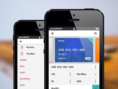 Mobile App Screens - WIP ui ux mobile app simple wallet visa card