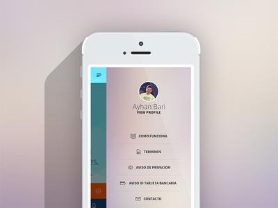 Side menu loan app ui ux mobile app simple cash loan interface menu side