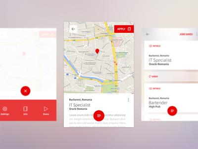 Job Screen UI cards material design interface ux ui app mobile recruitment hr