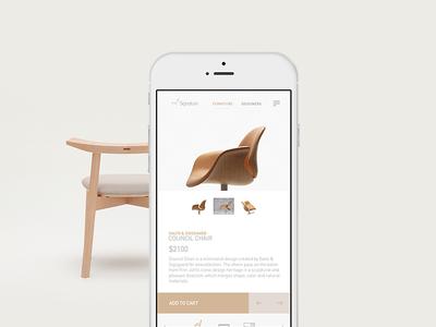 Furniture Shop | Mobile simple modern mobile ui ux minimal furniture product page