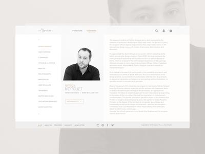 Designer Profile profile ecommerce designer page furniture minimal ui website modern simple
