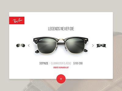 Legends Never Die glasses summer rayban minimal design interface ux ui