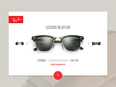 Legends Never Die glasses summer rayban minimal design interface ux ui