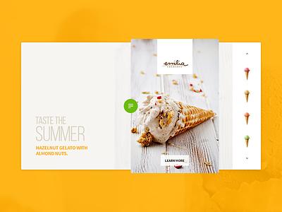 Summer senses hazelnut summer icecream gelato minimal design interface ux ui