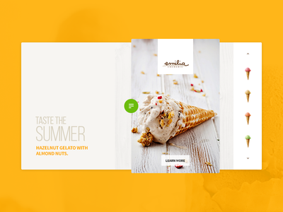 Summer senses hazelnut summer icecream gelato minimal design interface ux ui