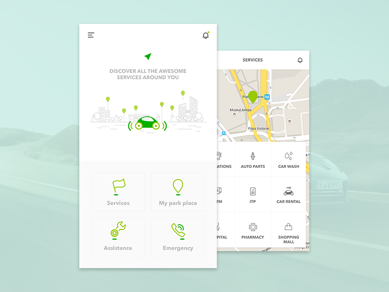 An app for drivers interface ios driver service car minimal design ux ui