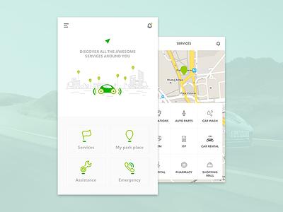 An app for drivers interface ios driver service car minimal design ux ui