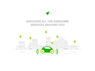 Driver's help in the city interface ios driver service car minimal design ux ui