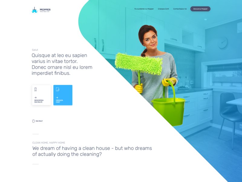 Mopper | Book a cleaner | Make some extra cash cleaners cleaning webdesign app recruitment simple website mobile minimal interface ux ui